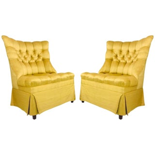 Pair of Gold Tufted Hollywood Regency Chairs For Sale