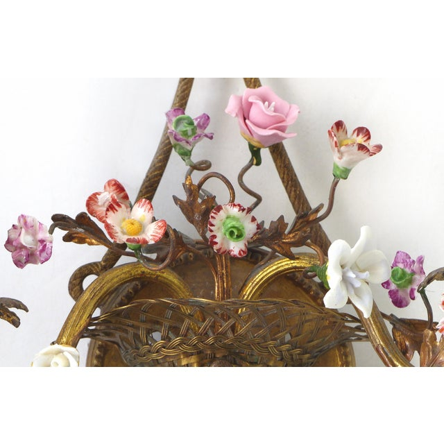 Yellow Antique French Bronze and Porcelain Floral Basket Sconces - a Pair For Sale - Image 8 of 10