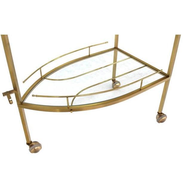 Gold Unusual Iron Shape Folding Brass Tea Cart For Sale - Image 8 of 10