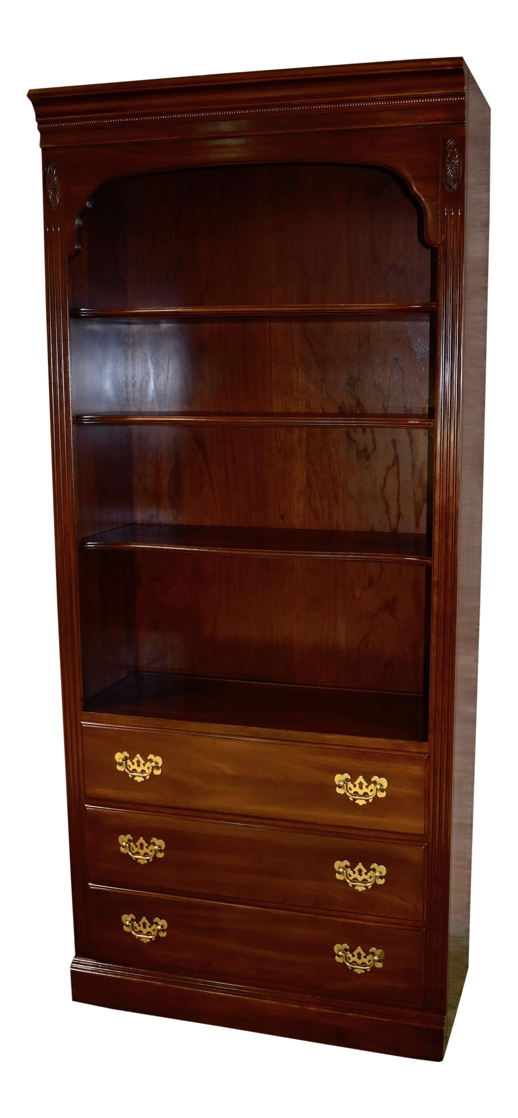 Merveilleux 1980s Traditional Ethan Allen Solid Cherry Bookcase With Cabinet Base    Chairish