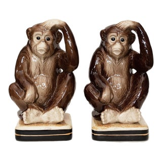 1970s Japanese Porcelain Monkey Bookends - a Pair For Sale