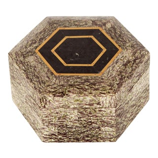 Late 20th Century Vintage Granite & Brass Inlay Hexagonal Trinket Box by Maitland Smith For Sale