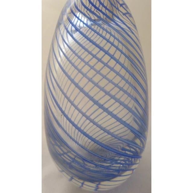 Murano Mid Century Glass Blue Swirl Vase - Image 3 of 9