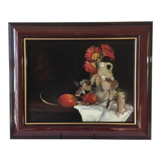 Still Life Oil Painting of Fruit and Leaves, The Cider Jug by Marina Movshina For Sale