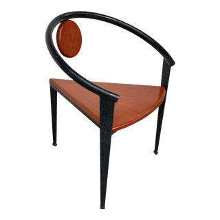 Post Modern Memphis Three Leg Iron and Wood Chair - Michele De Lucchi Style For Sale