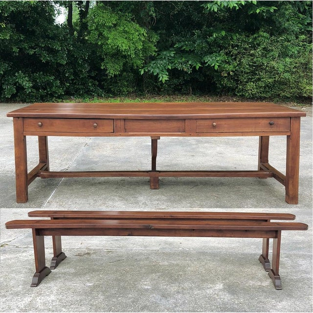 9th Century French Cherrywood Farm Table With Pair Benches For Sale - Image 13 of 13