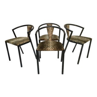 1970s Vintage Bks , Denmark Upholstered Metal Chairs- Set of 4 For Sale