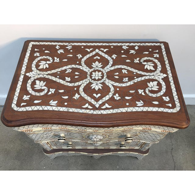Syrian Middle Eastern White Mother-Of-Pearl Inlay Wedding Dresser For Sale - Image 4 of 12