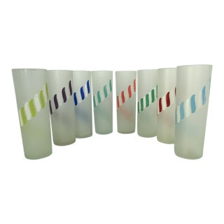 Mid-Century Colored Swirl Design Tall Frosted Glasses - Set of 8