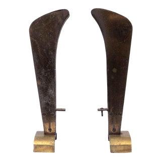 Antique Art Deco Brass Andirons - a Pair For Sale