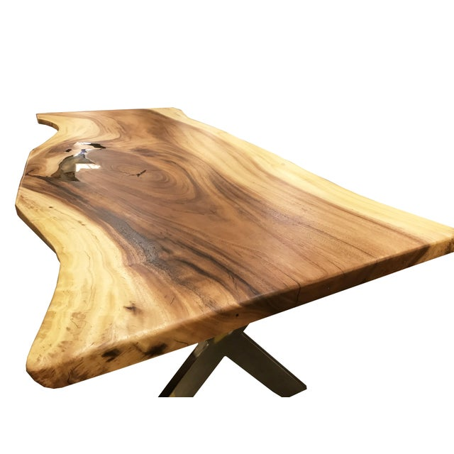 Live Edge Solid Slab Acacia Wood Dining Table - Image 7 of 11