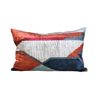 Kim Salmela Color Blocking Turkish Silk Velvet Ikat Lumbar Pillow For Sale