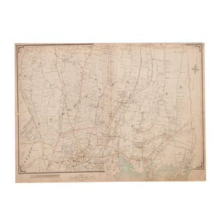 Antique Stamford and Darien Ct Map For Sale