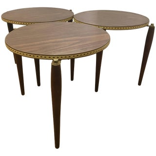 Midcentury Round Stacking Nesting Tables For Sale