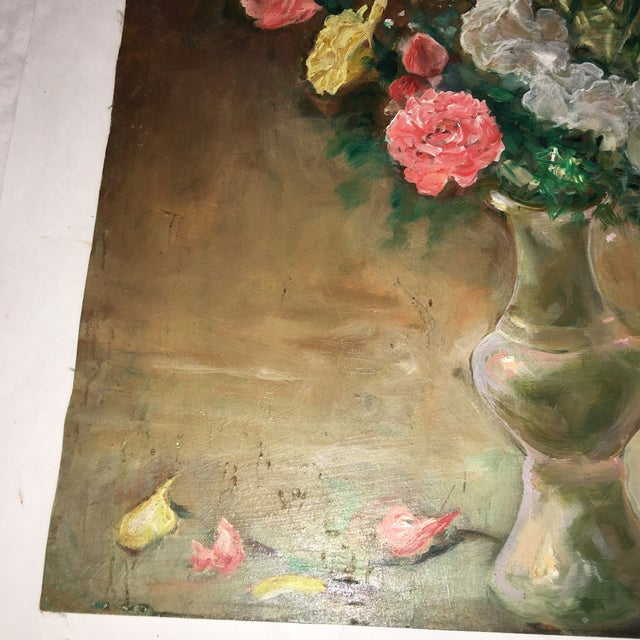 Oil Paint Flower Vase Oil Painting on Board For Sale - Image 7 of 9