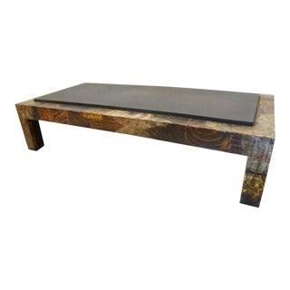 Paul Evans Brutal Patchwork Metal & Slate Coffee Table For Sale