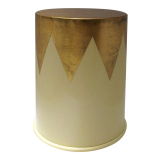 C1992 Enrique Garcel (Designer) Attr. Gloss Lacquered & Gold Leaf Drum/Accent, or Occasional Table, by Jimeco For Sale