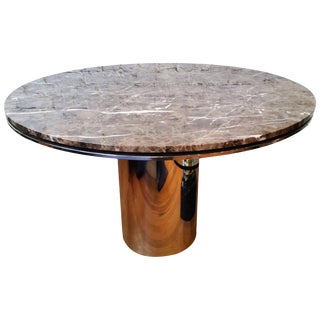 Round Chrome and Marble Dining Table by Brueton For Sale