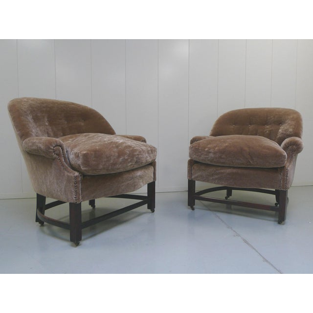 Mid-Century Modern Midcentury Mohair Barrel Club Chairs For Sale - Image 3 of 8
