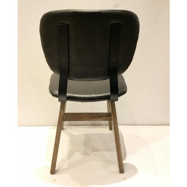 Industrial Modern Black Faux Leather Side Chair/Desk Chair For Sale In Atlanta - Image 6 of 7