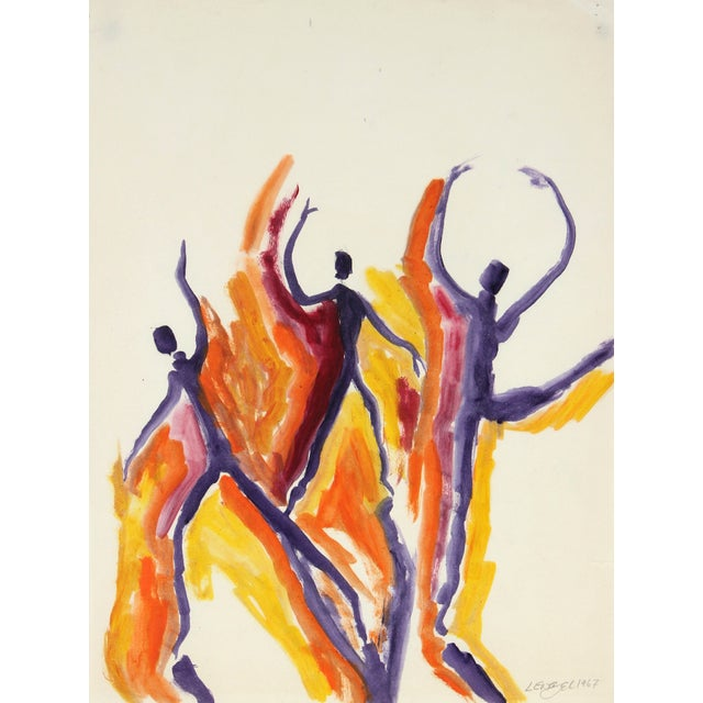 1967 Oil on Paper Painting - Dancing Figures For Sale