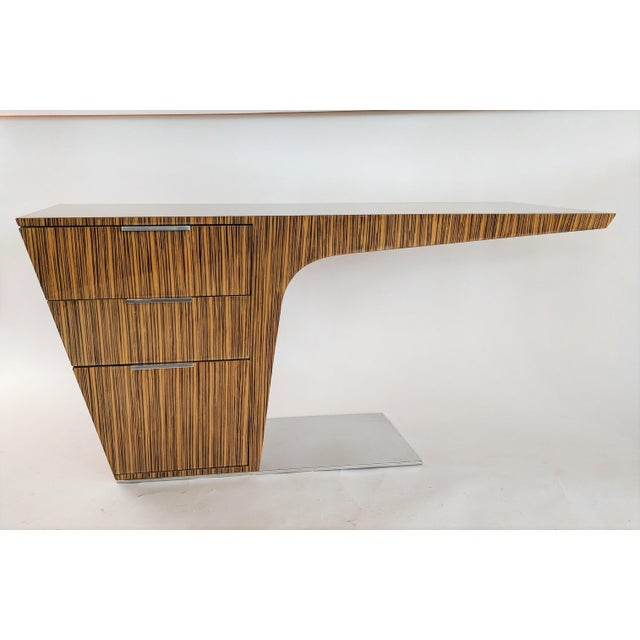 Contemporary Zebra Wood Modern Cantilever Desk For Sale - Image 3 of 13