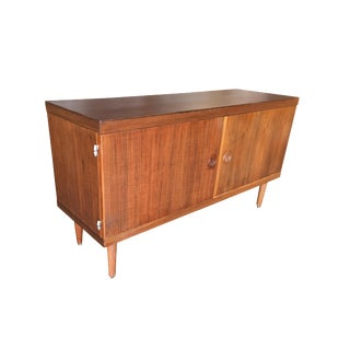 Danish Modern Credenza Cabinet W/ Fancy Hinges and Sculpted Pig Nose Pulls For Sale