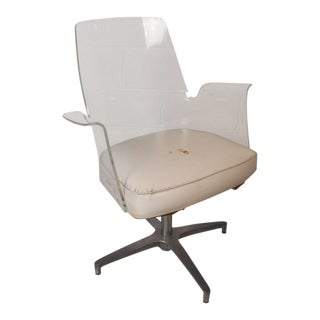 Mid-Century Modern Herman Miller Style Lucite Swivel Chair For Sale