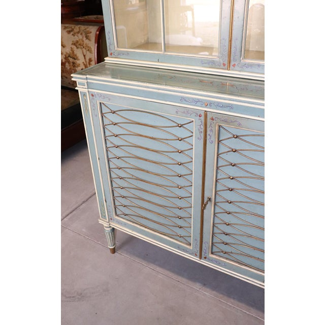 English Regency Style Paint Decorated China Cabinet For Sale - Image 11 of 13
