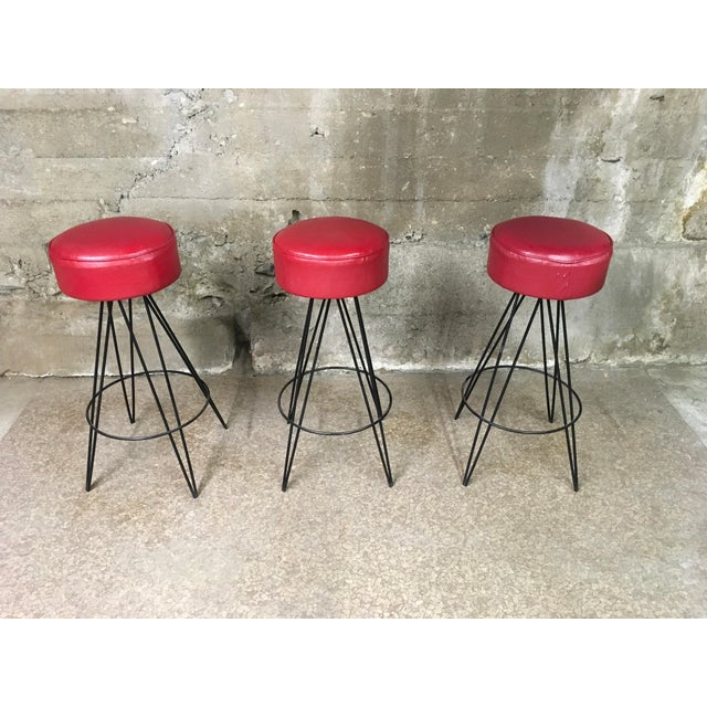 Mid Century Iron Bar Stools - Set of 3 For Sale - Image 10 of 10