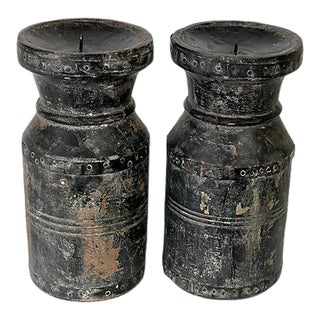 Antique Black French Candle Pillars, a Pair For Sale
