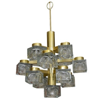 Vintage Gaetano Sciolari Italian Brass and Cube Glass Chandelier For Sale