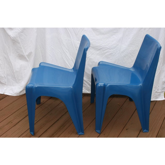 Mid-Century Modern 1960s Vintage Helmut Batzner Stackable Blue Space Age Bofinger Chairs- A Pair For Sale - Image 3 of 6