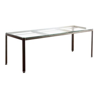 Large Angle Iron and Glass Industrial Conference/ Dining Table, Made to Order For Sale
