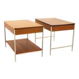 George Nelson for Herman Miller Mid Century Chrome and Walnut End Tables - Pair For Sale