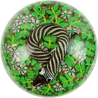Fratelli Toso Murano Striped Snake in Wild Flowers Italian Art Glass Paperweight For Sale