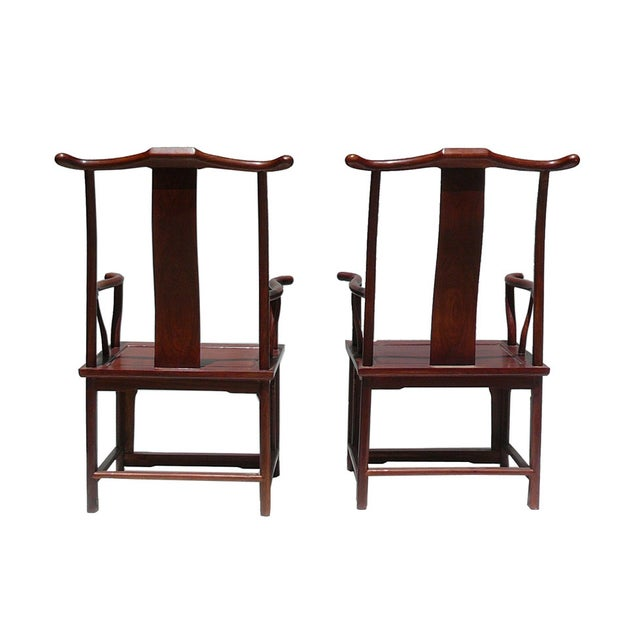 Chinese Huali Rosewood Yoki-Back Armchairs - Pair For Sale - Image 4 of 5