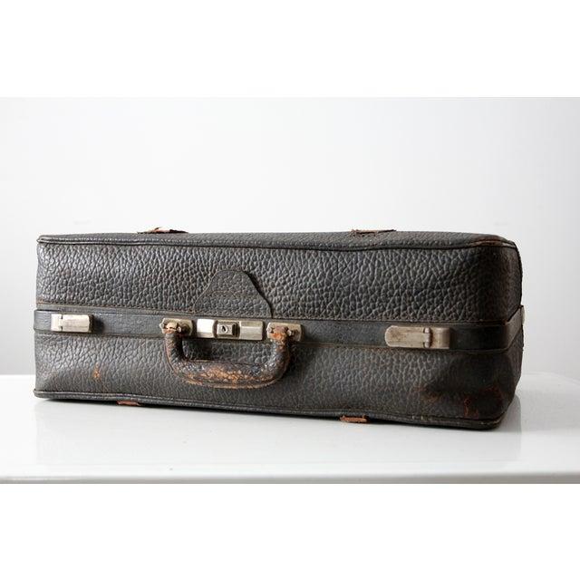 Vintage Black Leather Suitcase - Image 2 of 8