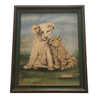 Antique English Oil on Canvas in Original Frame Golden Puppy and Kitten For Sale