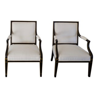 Vintage Baker Furniture Louis XVI Style Matte Black Painted Side Chairs - a Pair For Sale