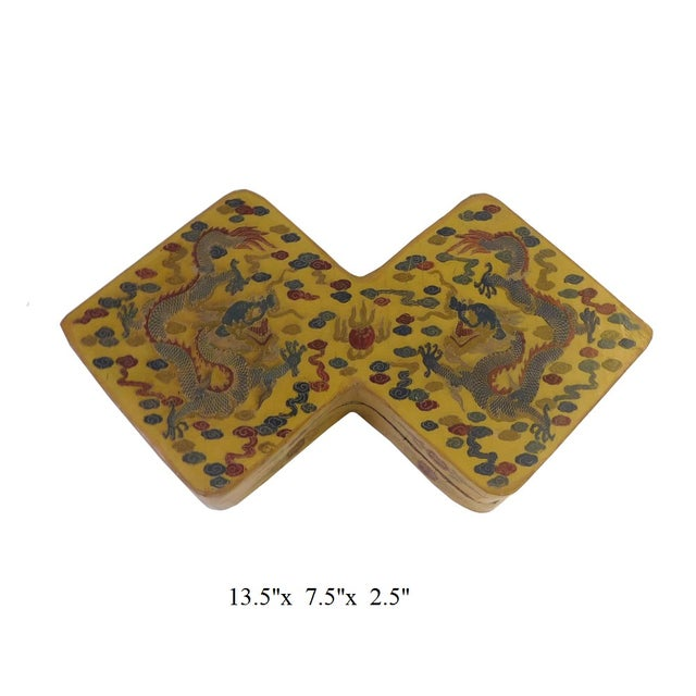Yellow Lacquer Double Rhombus Painted Box - Image 7 of 7