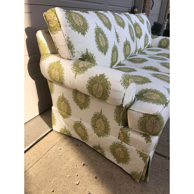 Textile Modern Upholstered Ikat Print Sofa by Century Furniture For Sale - Image 7 of 13