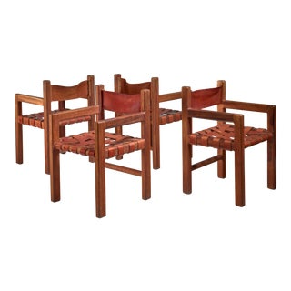 Set of Four Studio Crafted Leather Webbed Chairs, USA, 1950s For Sale