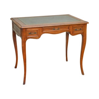 French Louis XV Style Small Vintage Fruitwood Leather Top Writing Desk