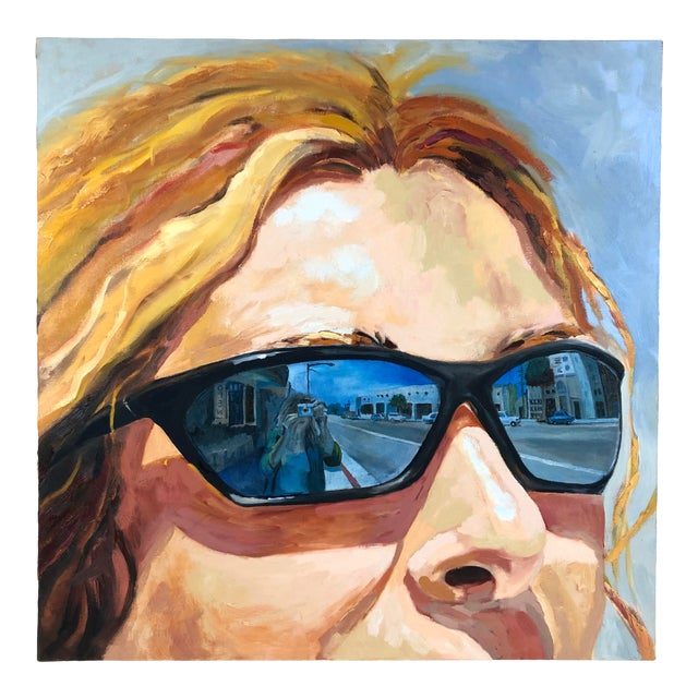 2004 Original Portrait ''City Streets'' Oil on Canvas Painting Signed Susan Lawrence For Sale