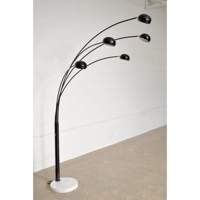 Mid Century Style Black Five Arm Arc, Arc Floor Lamp With Marble Base