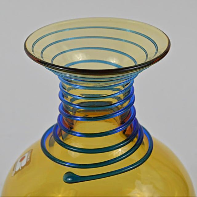 Vintage Blenko Amber Blue Spiral Vase For Sale - Image 5 of 7