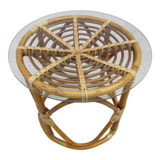 Rattan Side Table With Glass Top For Sale