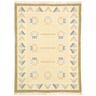 Vintage Scandinavian Modern Style Swedish Kilim Rug - 5'8 X 7'7 For Sale