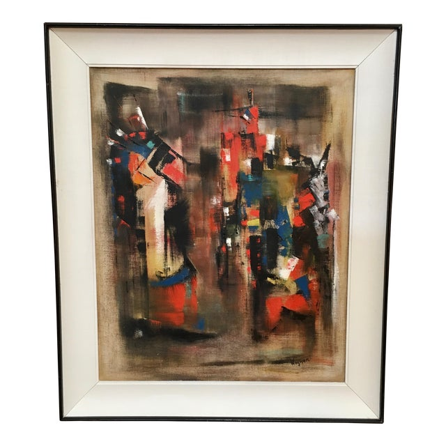 Abstract Oil Painting on Canvas Signed Wagner For Sale